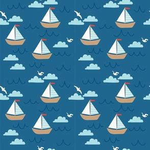 Ahoy Nautical Sailboat Pattern