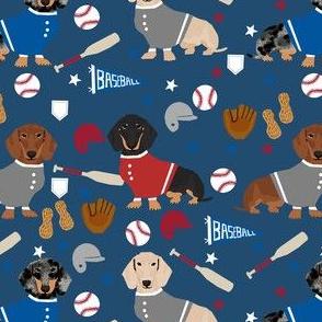 doxie baseball fabric - dachshund baseball design, dog fabric, dog pattern, cute dachshund design - navy