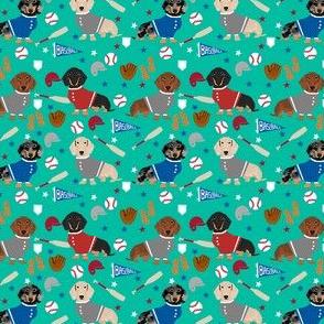 doxie baseball fabric - dachshund baseball design, dog fabric, dog pattern, cute dachshund design - green
