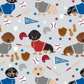 doxie baseball fabric - dachshund baseball design, dog fabric, dog pattern, cute dachshund design - grey