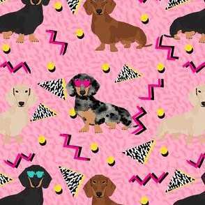 doxie rad fabric - 80s retro fabric, dachshund rad fabric - pink