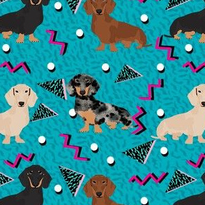 doxie rad fabric - 80s retro fabric, dachshund rad fabric - teal