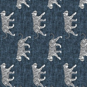 white walking tiger on blue (woven) (90) C19BS