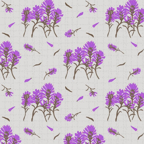 Orchid Wildflowers on Grey Dotted Line Background