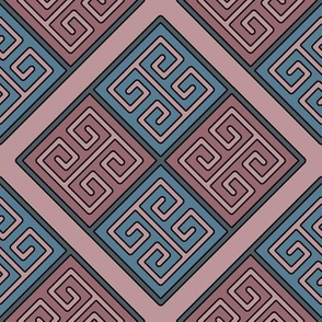 Greek Key in Dusty Rose Pink and Soft Blues