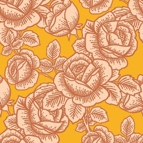 Vintage roses in pink and mustard