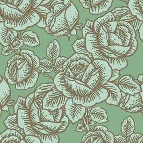Vintage roses in spearmint
