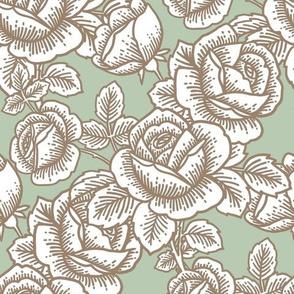 Vintage roses in mint