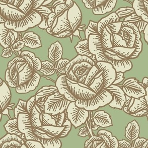 Vintage roses in pistachio