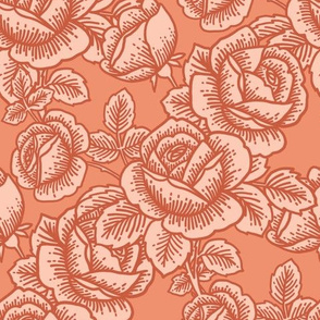 Vintage roses in coral