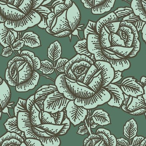 Vintage rose in teal