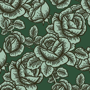 Vintage roses in dark teal