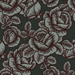 Vintage roses in midnight