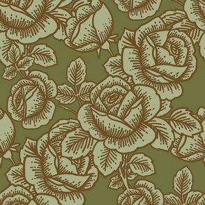 Vintage roses in leaf green