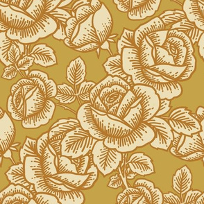 Vintage roses in goldenrod
