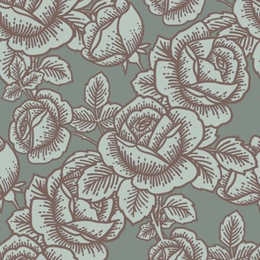 Vintage roses in ice blue