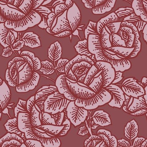 Vintage roses in cranberry