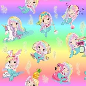 Mermaid bubbles rainbow