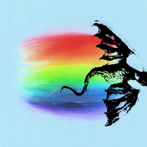 Rainbow Dragon on Blue