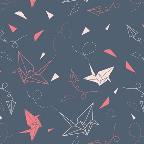 Origami pattern with birds