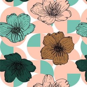 Limited Color Palette Floral Blossom Pattern Bronze _ Rose _ Forest _ Spearmint