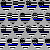 thin blue line flag in hearts on grey