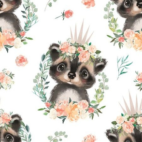 peach coral floral raccoon with flowers 6""