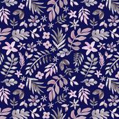 Soft Floral Dark Blue Ground