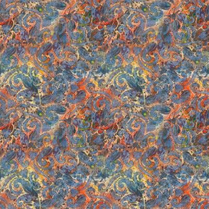 Blue Paisley on Coral