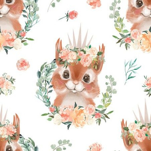 peach coral watercolor floral squirrel with flowers 6""