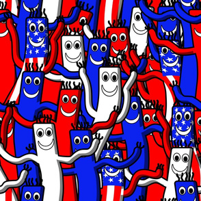 red white and blue wacky inflatable arm flailing tube man