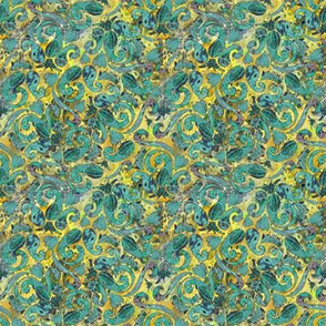 Green Paisley on Lemon
