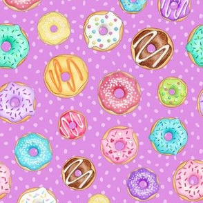 Scattered Rainbow Donuts on bright purple spotty