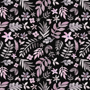 Soft Floral Black Ground