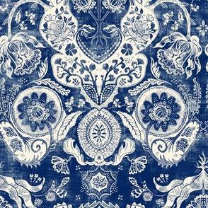 Vintage Blue Indigo Floral