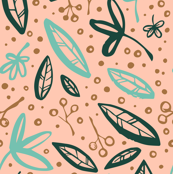 Ink Botanical (peach background)