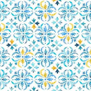Watercolor Moroccan Tile – Blue + Mustard, Small