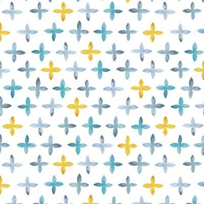 Watercolor Moroccan Cross – Blue + Mustard, Small