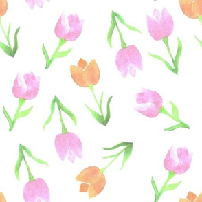 Watercolor Tulips in tints of orange and pink