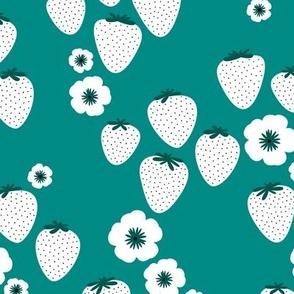 Summer strawberry garden green teal