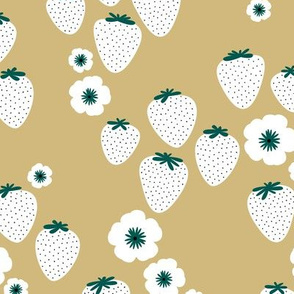 Summer strawberry garden mustard yellow