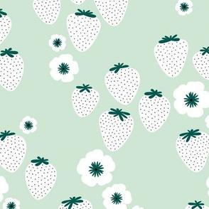Summer strawberry garden green mint