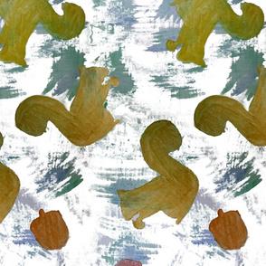 Watercolor Squirrels and Acorns