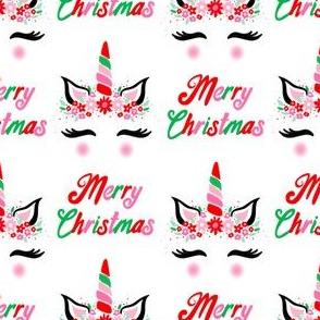 Christmas unicorn fabric - cute holiday design, unicorn flower design, red, pink and green Christmas design - white