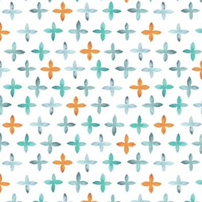 Painted Watercolor Cross – Teal Aqua Mint Orange, Small