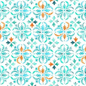Watercolor Moroccan Tile – Teal Aqua Mint, Small