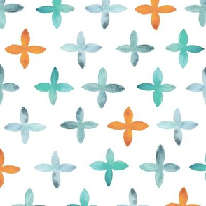 Painted Watercolor Cross – Teal Aqua Mint Orange, Large