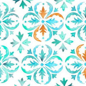 Watercolor Moroccan Tile – Teal Aqua Mint, Large