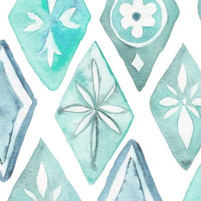 Watercolor Moroccan Pattern  – Teal Aqua Mint, Large