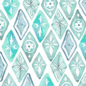 Watercolor Moroccan Pattern  – Teal Aqua Mint, Small